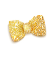 Golden sparkling glitter decorated bow trendy fash vector image