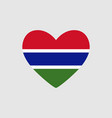 heart of the colors of the flag of gambia vector image vector image