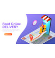 isometric web banner delivery man ride motorcycle vector image