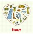 Italy Pen Drawn Doodles Collection vector image vector image