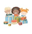 Kids Opening Christmas Gifts vector image