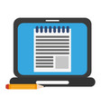 laptop with document symbol and pencil vector image vector image