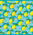 lemon seamless pattern on geometric background vector image vector image