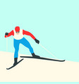 man skier flat style front vector image vector image