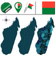 map of madagascar with named regions vector image vector image