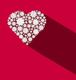 paper flowers heart shape on red background vector image vector image