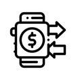 payment smart watch pay pass thin line icon vector image