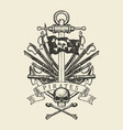 pirate banner with ship anchor sabers and cannons vector image vector image