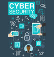 poster of online cyber security vector image vector image