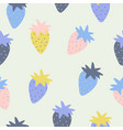 seamless pattern with strawberry in sketch style vector image vector image