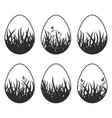 set of black silhouettes isolated easter eggs on vector image vector image