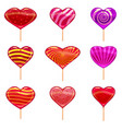 set of colorful heart-shaped lollipops good for vector image
