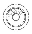 silhouette stamp border with donut with chocolate vector image vector image