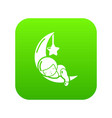 sleeping girl icon green vector image vector image