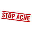 square grunge red stop acne stamp vector image vector image