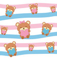 toy bears with hearts background vector image