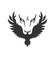 wolf or lion face and bird icon vector image