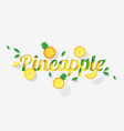 word pineapple design in paper art style vector image