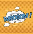 wrooom wording sound effect for comic speech vector image