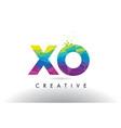 xo x o colorful letter origami triangles design vector image vector image