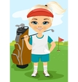 Young little girl with a golf club vector image vector image