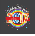 Celebrating 2017 Colorful Rainbow vector image