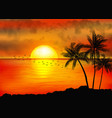 a tropical sunset with palm trees vector image vector image