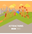 Attractions in Amusement Park Web Banner vector image vector image