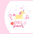 beautiful girl cartoon unicorn and inscription vector image