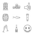 beer cellar icons set outline style vector image vector image
