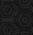 Black textured plastic striped hexagons vector image vector image