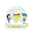 boy and girl with a big ice cream vector image vector image