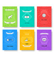 breed cats thin line brochure cards set animal vector image vector image