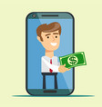business concept cartoon smartphone giving money vector image