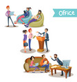 businessman with subordinates holding talks vector image vector image