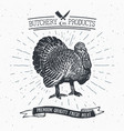 butcher shop vintage emblem turkey meat products vector image