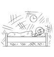 cartoon of man lying in bed and unable to sleep vector image