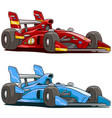 cartoon red and blue sport racing car vector image vector image