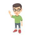 caucasian little boy waving hand vector image vector image