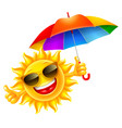 cheerful sun holds multicolored umbrella vector image vector image
