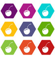 cherry icons set 9 vector image