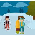 children with winter clothes playing ski vector image