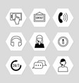 contact centre or online support icons set vector image