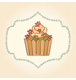 cupcake with flowers and leaves vector image vector image