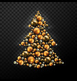 decorative christmas tree made of golden balls vector image vector image