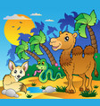 desert scene with various animals 1 vector image vector image