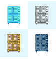 double deck con oven icon set in flat and vector image vector image