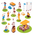 golf isometric icons set vector image vector image
