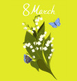 greeting card for march 8 with lilies vector image