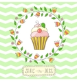 greeting card invitation in a green strip vector image vector image